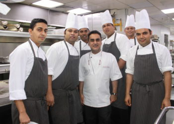 Chef Vineet Bhatia with his chefs in Ashiana