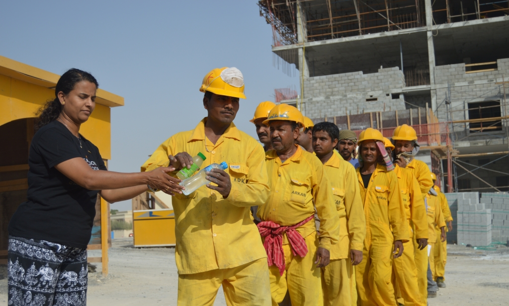 Water distributed to workers by Carlson Rezidor