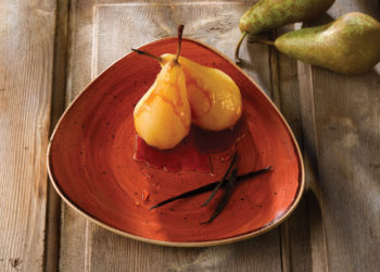 STONECAST SPICED ORANGE_TRIANGLE PLATE  POACHED PEARS