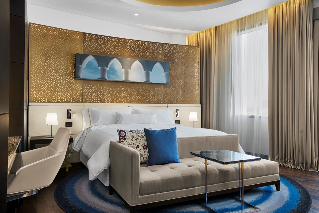 Guestroom of the recently opened Westin Doha Hotel and Spa