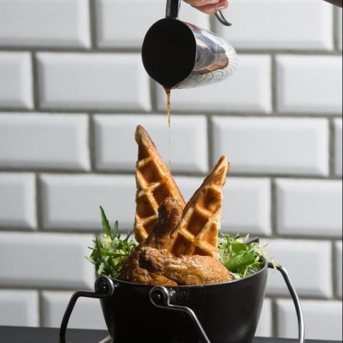 Confit Fried Chicken Leg, Buttermilk Waffle
