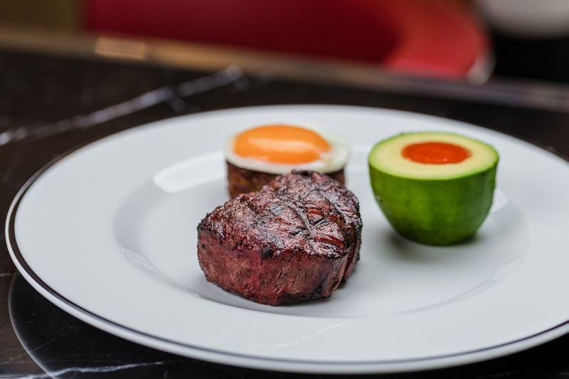 Michael Mina's refined version of a classic American dish, the Firebird Steak & Eggs