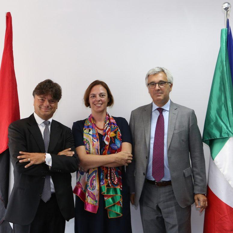 (L-R) Gianpaolo Bruno, trade commissioner to the UAE; Valentina Setta, consul general to the UAE; Liborio Stellino, ambassador of Italy to the UAE.