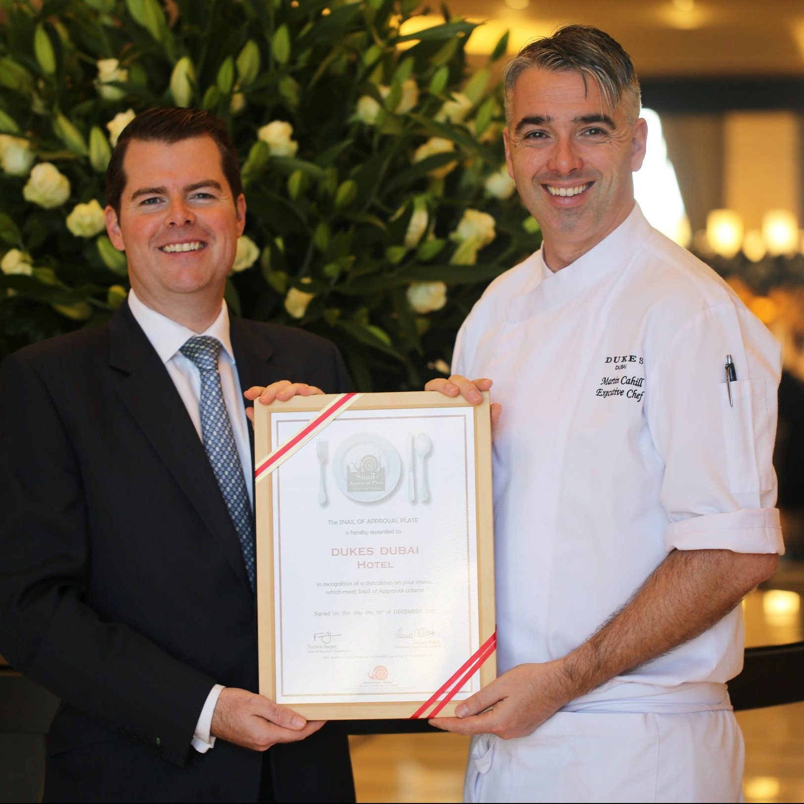Carl Chapman, Dukes director of F&B, with Martin Cahill, executive chef Dukes Dubai with the award