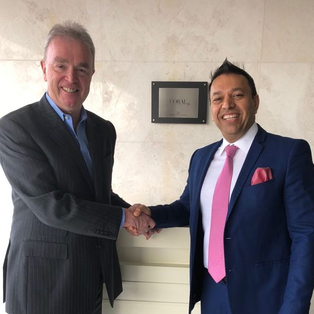 Ferghal Purcell, COO of HMH, with Shahzad Butt, new general manager of the Coral Dubai Al Barsha Hotel.