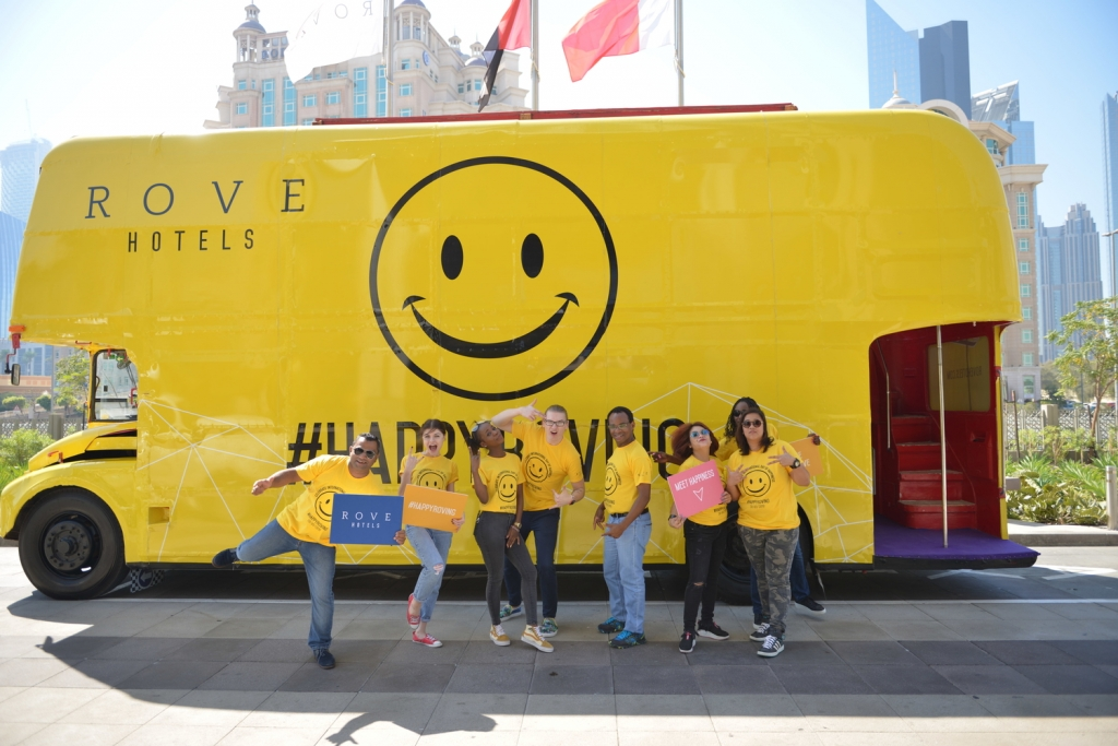 The Rove Hotels bus is doing the rounds to spread happiness