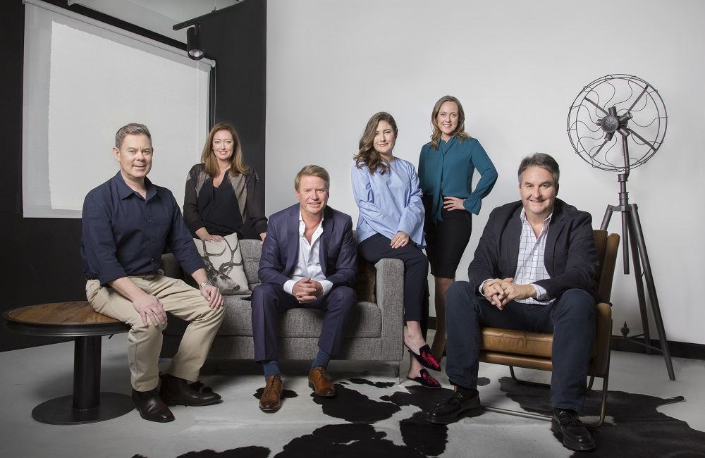 Crystalbrook Collection executive leadership team. From left to right David Kotze, Kylie Brajak, Mark Davie, Laura Davie, Katie Malone and Geoff York