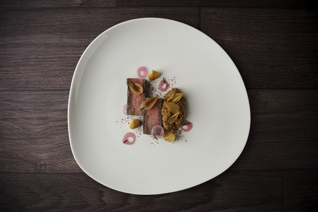 3. Westholme Striploin with onion soubise, roasted grelots and sherry vi...