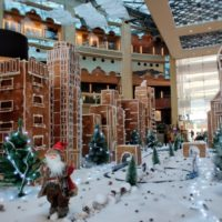 The H Dubai displays Sheikh Zayed Road gingerbread and chocolate installation for Christmas
